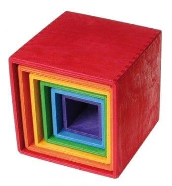 Stabelkasser 6 stk. – regnbuefarvet