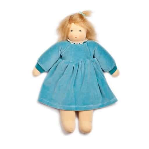 stor dukke med blå kjole