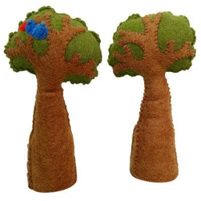 træ med fugl filt uld