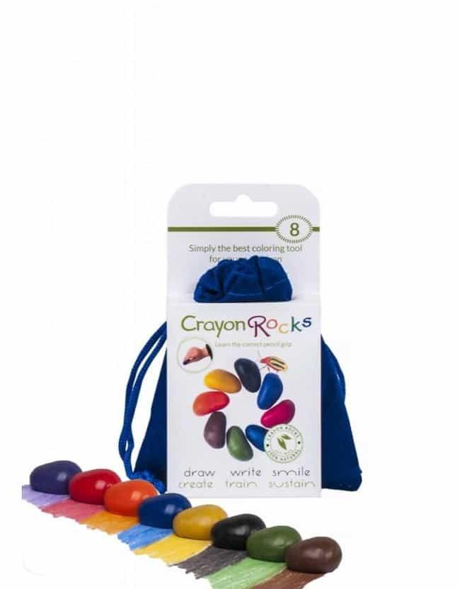 Soja farvekridt 8 stk i blå velourpose