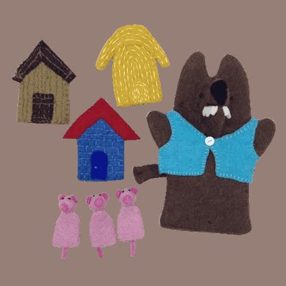 hånddukker de 3 små grise